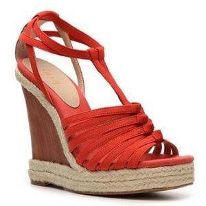 Levity Coral Orange Izzy Wood Wedge Sandals
